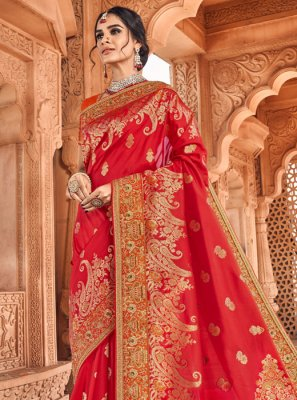 Banarasi Silk Orange and Red Weaving Traditional Designer Saree