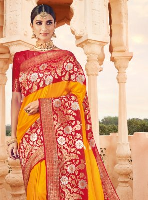 Banarasi Silk Orange Designer Saree