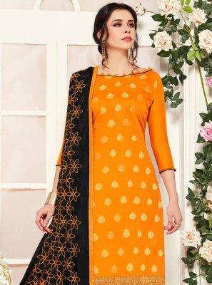 Banarasi Silk Orange Embroidered Churidar Designer Suit