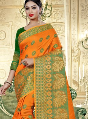 Banarasi Silk Orange Traditional Saree