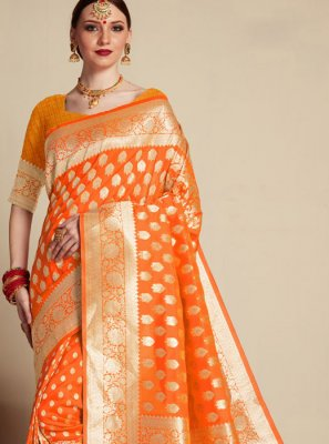 Banarasi Silk Orange Weaving Classic Designer Saree