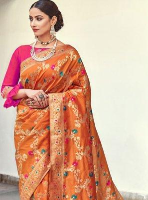 Banarasi Silk Orange Weaving Trendy Saree