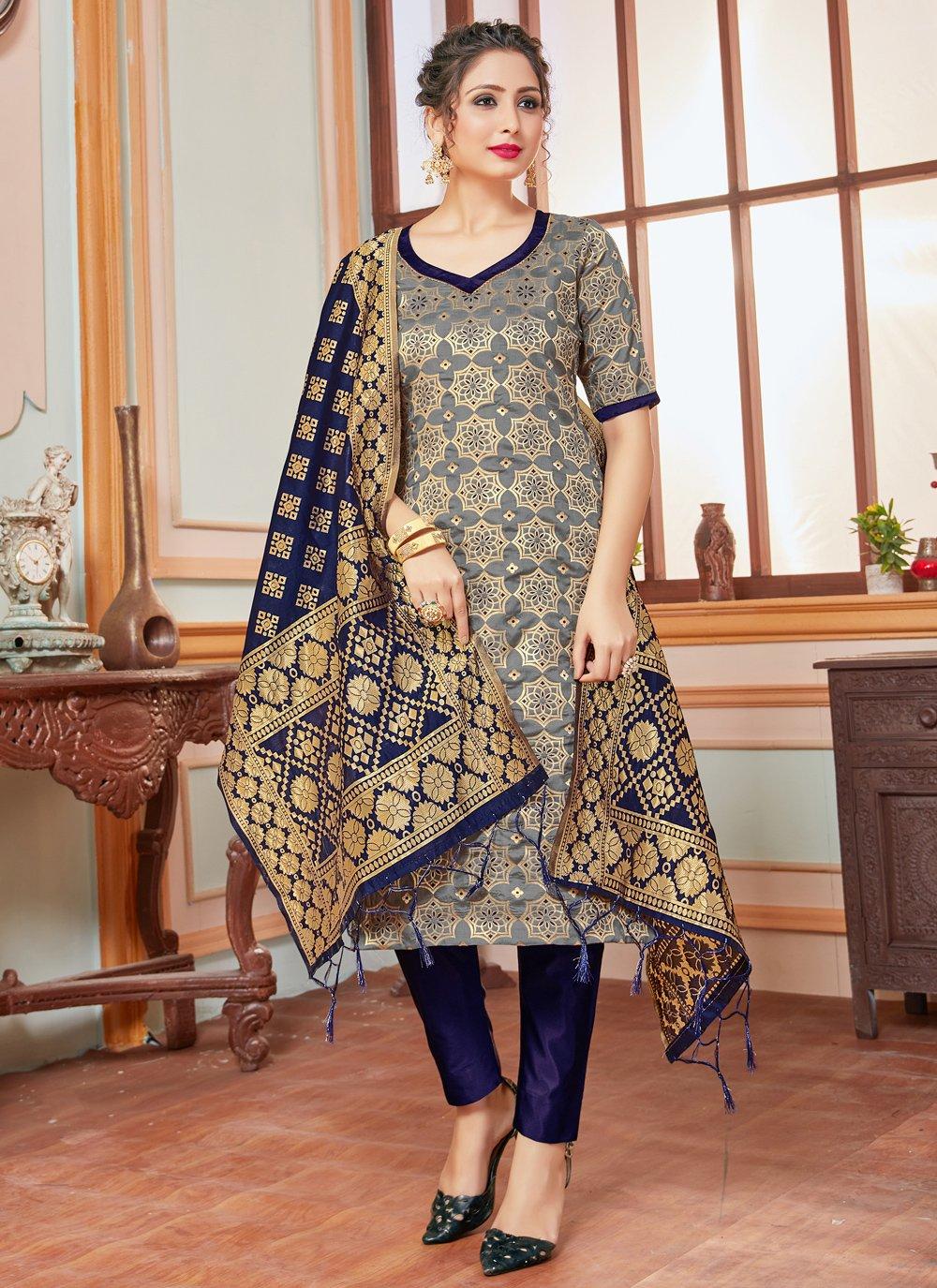 Banarasi Silk Pant Style Suit in Grey