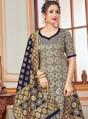 Banarasi Silk Pant Style Suit in Grey
