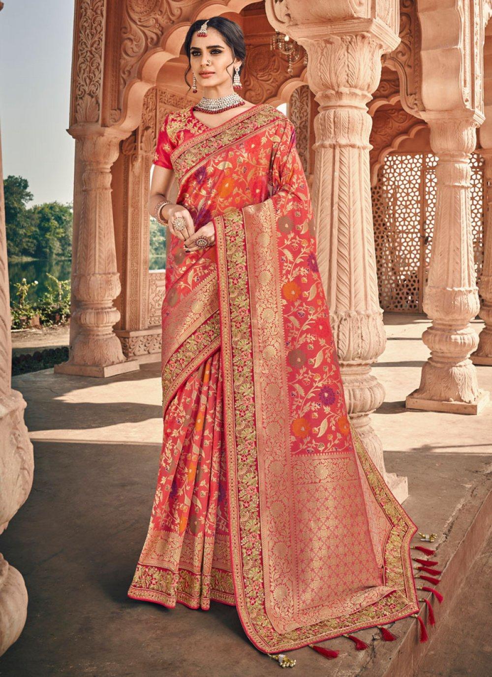 Banarasi Silk Peach and Pink Weaving Classic Designer Saree