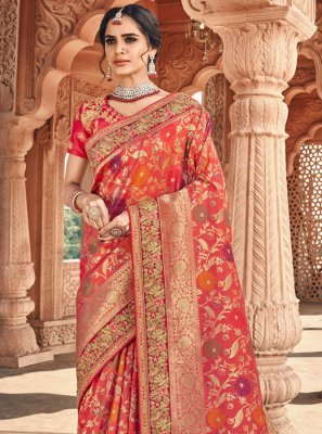 Banarasi Silk Peach and Pink Weaving Classic Designer Saree
