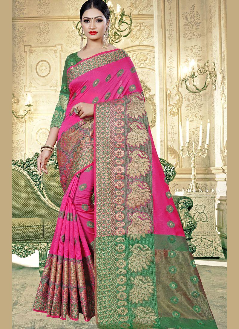 Banarasi Silk Pink Trendy Saree