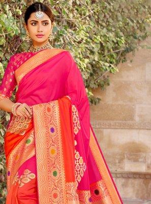Banarasi Silk Pink Weaving Classic Designer Saree
