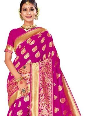 Banarasi Silk Pink Woven Saree