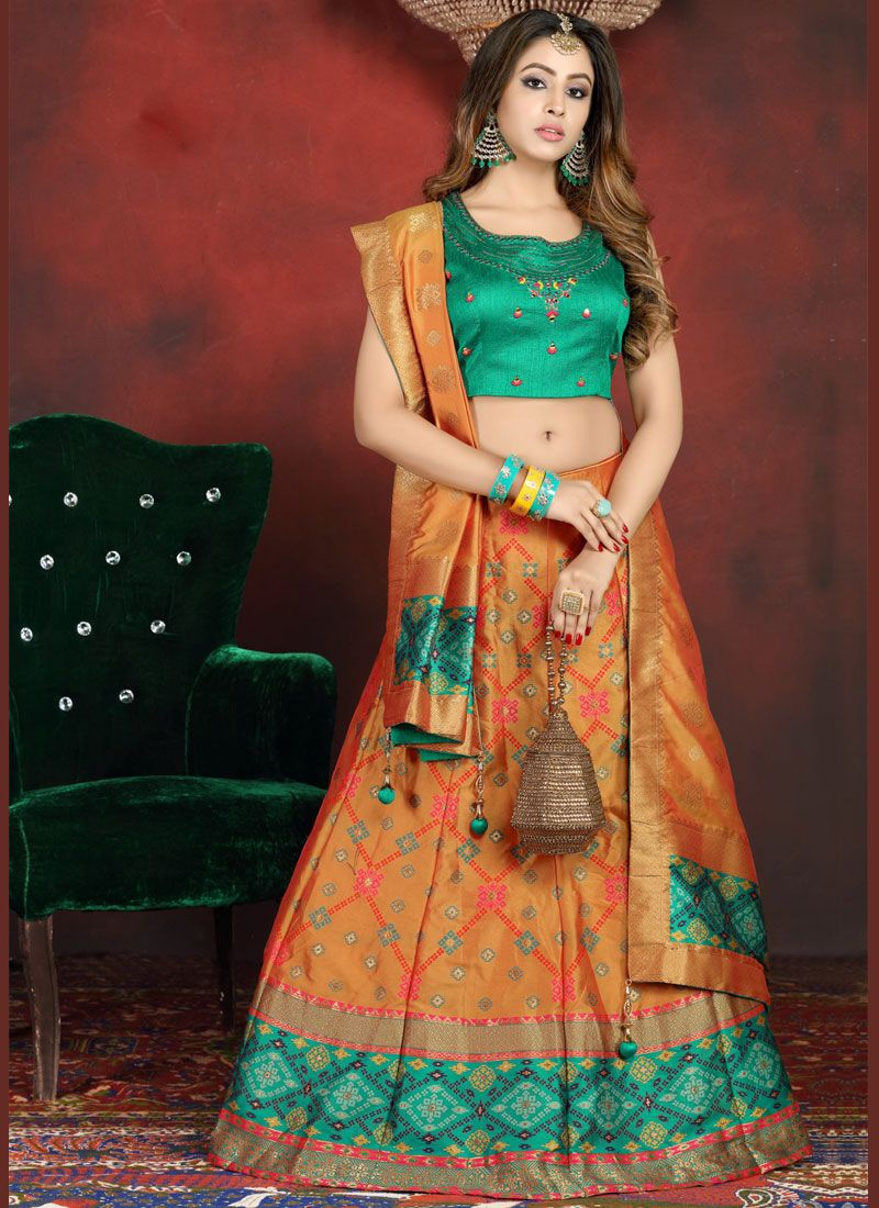 Banarasi Silk Readymade Lehenga Choli in Green and Orange