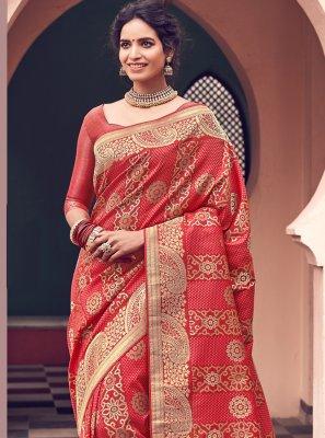 Banarasi Silk Red Classic Designer Saree