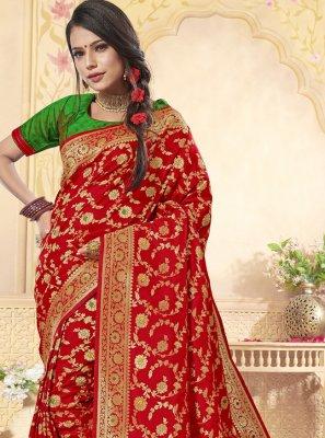Banarasi Silk Red Designer Saree