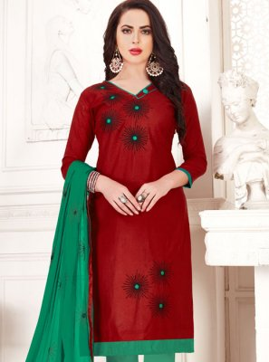 Banarasi Silk Red Trendy Suit
