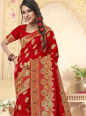 Banarasi Silk Red Weaving Classic Saree