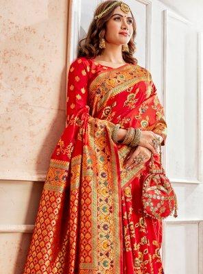 Banarasi Silk Red Weaving Classic Saree