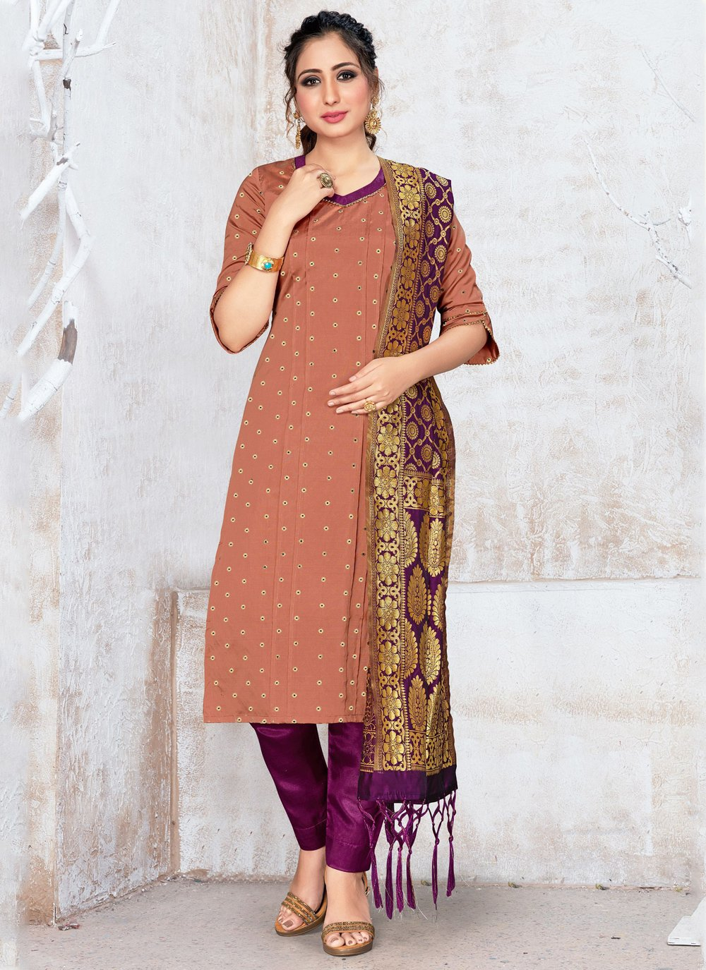 Banarasi Silk Salwar Kameez in Brown
