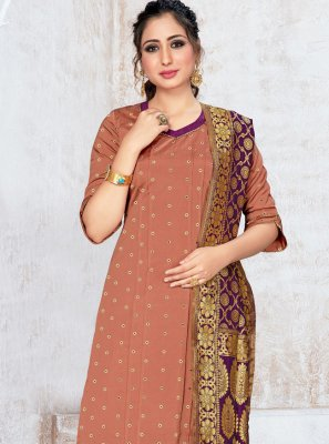 Banarasi Silk Salwar Kameez in Brown
