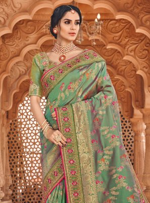 Banarasi Silk Sea Green Silk Saree