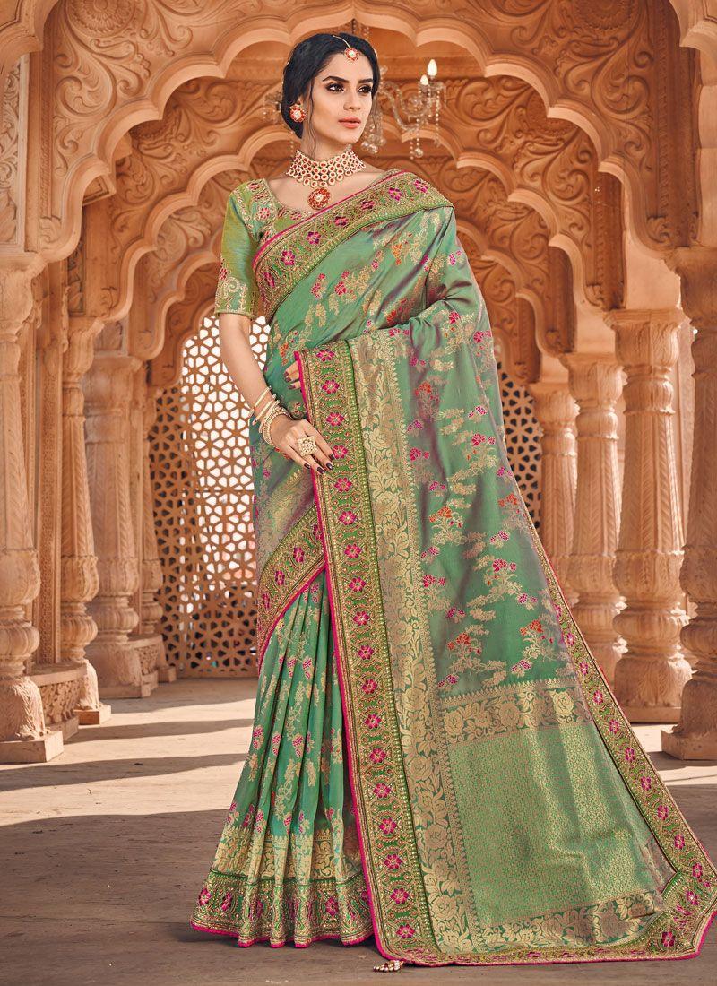 Banarasi Silk Sea Green Silk Saree