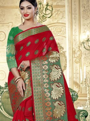 Banarasi Silk Silk Saree in Red