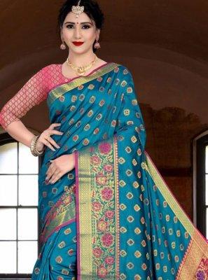 Banarasi Silk Teal Silk Saree