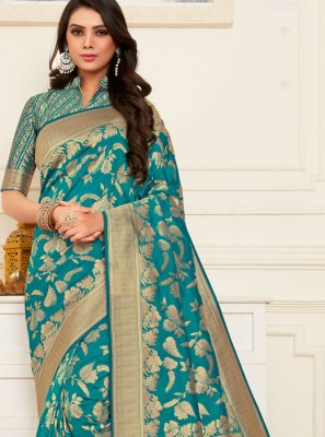 Banarasi Silk Teal Silk Saree