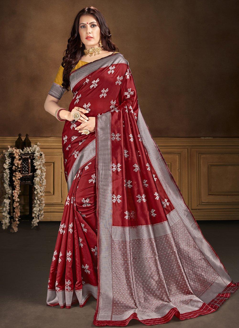 Banarasi Silk Traditional Saree in Maroon