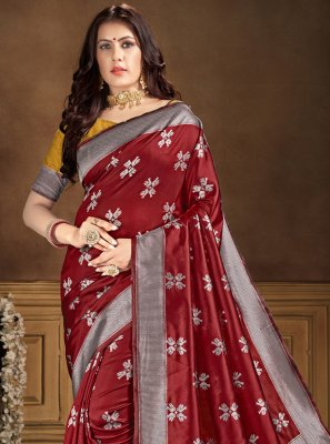 Banarasi Silk Traditional Saree in Maroon