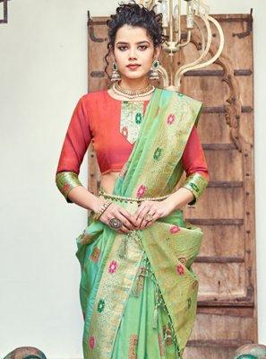 Banarasi Silk Trendy Saree in Green
