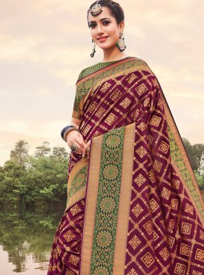 Banarasi Silk Trendy Saree in Violet
