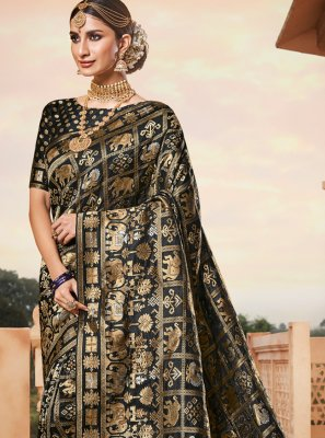 Banarasi Silk Weaving Black Contemporary Saree