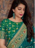 Banarasi Silk Weaving Blue Silk Saree