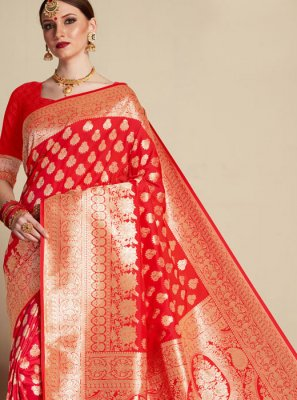 Banarasi Silk Weaving Classic Saree in Red