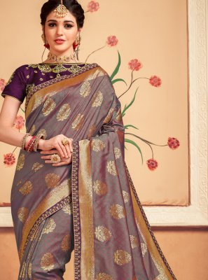 Banarasi Silk Weaving Grey Designer Saree