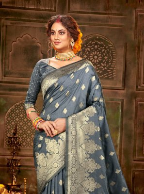 Banarasi Silk Weaving Grey Traditional Saree