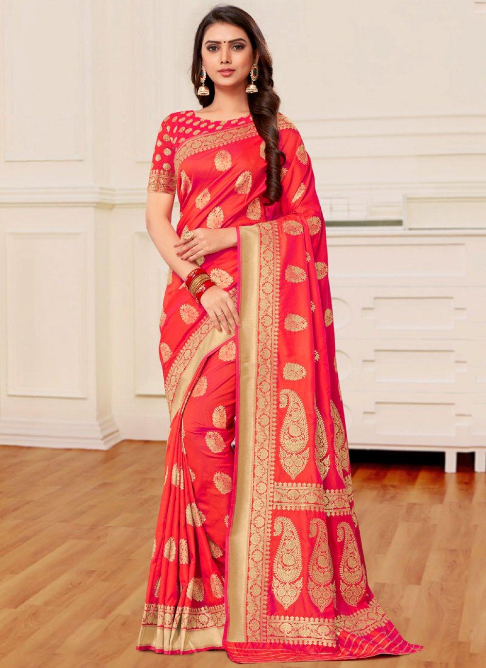 Banarasi Silk Weaving Half N Half Designer Saree