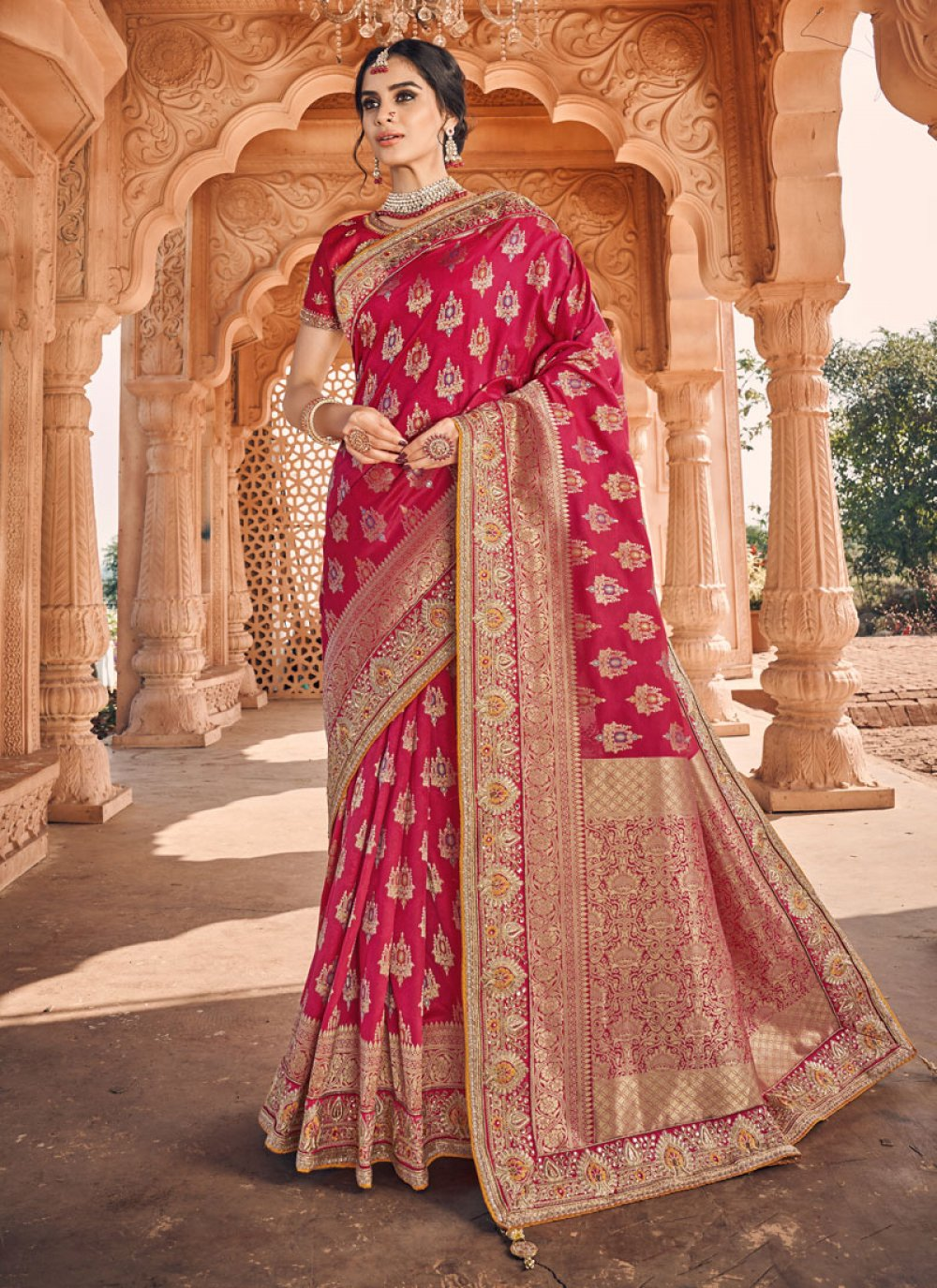 Banarasi Silk Weaving Magenta Traditional Saree