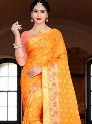 Banarasi Silk Weaving Mustard Silk Saree