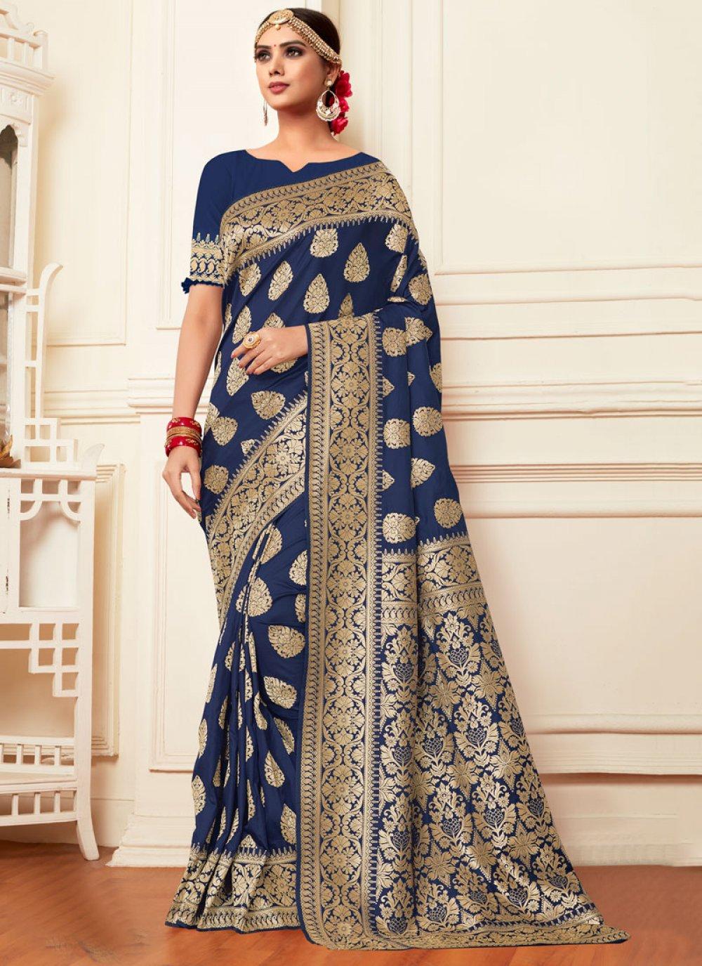 Banarasi Silk Weaving Navy Blue Silk Saree