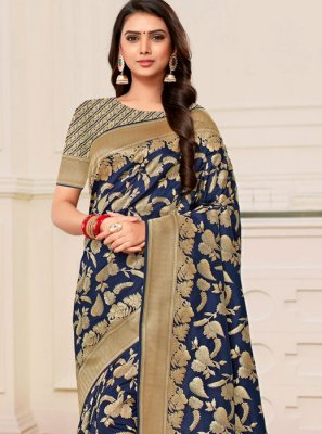 Banarasi Silk Weaving Navy Blue Trendy Saree