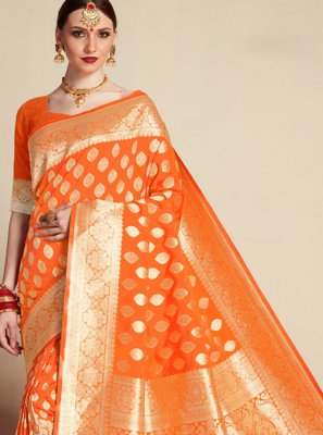 Banarasi Silk Weaving Orange Classic Saree