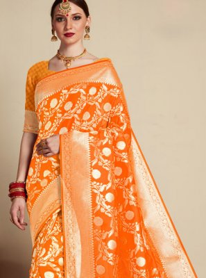 Banarasi Silk Weaving Orange Designer Saree