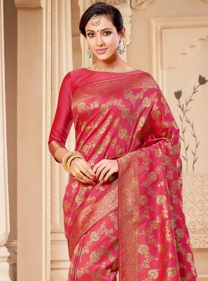 Banarasi Silk Weaving Pink Traditional Saree