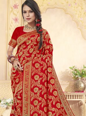 Banarasi Silk Weaving Red Classic Designer Saree