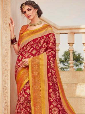 Banarasi Silk Weaving Red Classic Saree