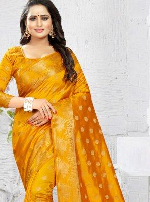 Banarasi Silk Weaving Traditional Saree in Mustard