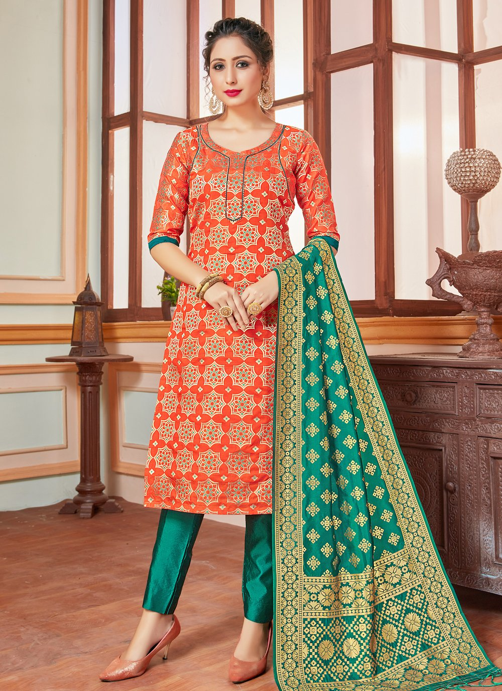 Banarasi Silk Weaving Trendy Salwar Suit in Orange
