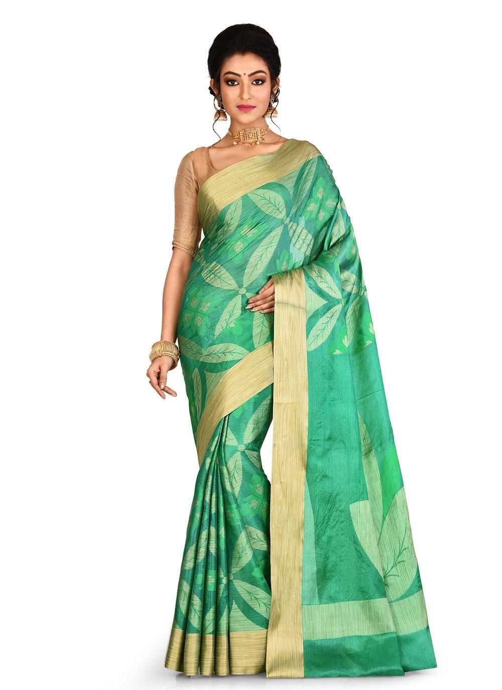 Banarasi Silk Weaving Trendy Saree in Green