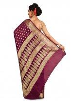 Banarasi Silk Wine Weaving Traditional Saree