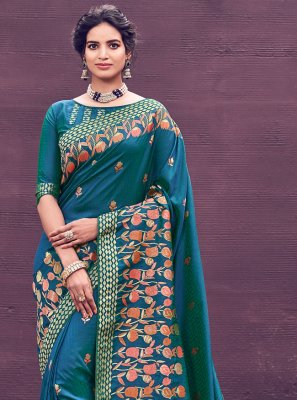 Banarasi Silk Woven Blue Bollywood Saree